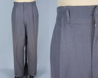 Vintage 1940s Men's Trousers   40s 50s Grey Hepcat Hollywood Waist Pants with Cerulean Blue Fleck   33x31