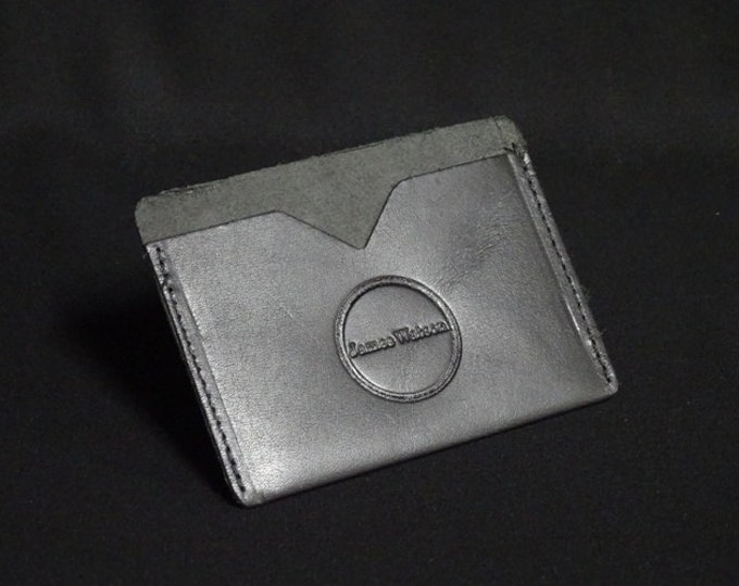 Pocket Wallet - Black Satin Smooth  - Kangaroo leather with RFID credit card blocking - Handmade - James Watson