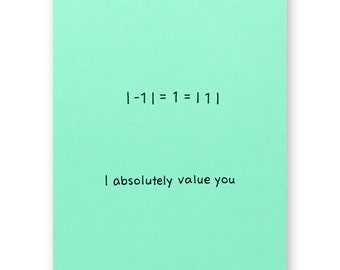 Absolute Value Thank You Card - Friendship Number Card - I Absolutely Value You - Math Nerd Geek Card - Teacher Mentor Card