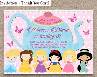 Princess Birthday Invitation, Printable Digital File, Tea Party Invitation, Girls Birthday Tea Party