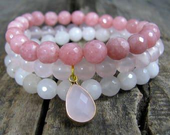 Womens Bracelet, Pink Beaded Bracelet, Set of Pink Bracelets, Rose Quartz Bracelet, Pink Gemstones Bracelets,  Bracelet Gift, Gift for Her