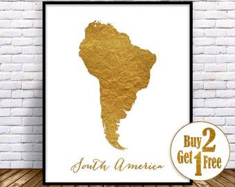 South America Map, South America Print, Map of South America USA Map Wall Art Print Office Prints Housewarming Gift Gold Decor, GoldArtPrint