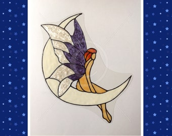 Fairy on Moon window cling, for glass & window areas, reusable faux stained glass effect decal, static cling suncatcher decals