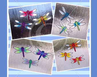 Dragonfly window clings, decorative set of 3 dragonflies for glass & mirror static cling decals, faux stained glass effect dragonflies