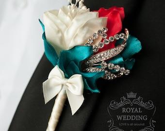 Wedding Boutonniere Buttonhole Boutonnieres Wedding Grooms Boutonniere Fabric Boutonniere Ivory Red Boutonniere Ivory Boutonniere