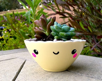Cute Yellow Scalloped Teacup Planter with Succulent Arrangement (PLANTS INCLUDED!)
