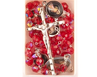 Divine Mercy of Jesus Rosary Beads. Red Glass Rosary with Divine Mercy Medals. Hand Made Rosary Beads.