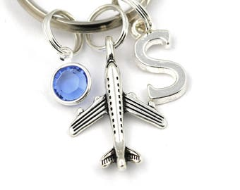 Airplane Key Ring, Personalized Traveler Keychain With Birthstone Or Pearl, Pilot Keyring, Gifts For Pilots, Flight Attendant Gifts, Travel