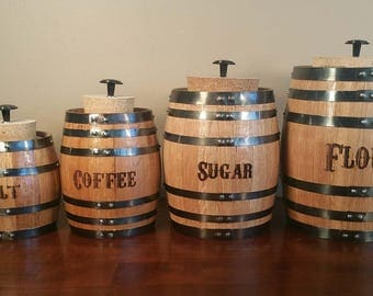 Oak Barrel Canister Set