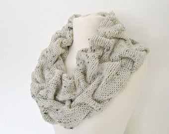 Gift for wife gift Ivory knit scarf cowl Cable knit cowl Knit off white scarf Tweed knit scarf Cream knit scarf Ivory loop scarf for women