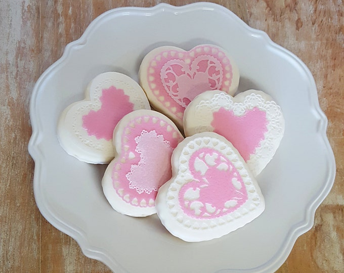 Edible Valentine's Doilies Cake, Cupcake, Cookie and Oreo Toppers - Wafer Paper