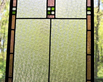Leaded stained glass panel, clear, mauve and bright green 14 x 20