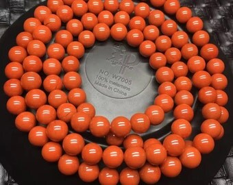 Nanhong  Agate bead chain108 beads,Red persimmon color