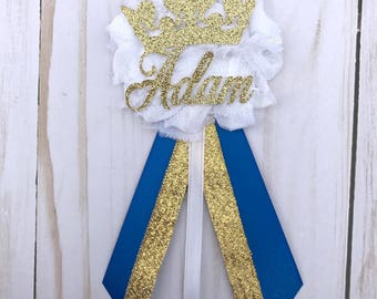 Personalized Royal Baby Shower Corsage/Mum, Prince Baby Shower Corsage, Baby Shower Pin, King Baby Shower Corsage