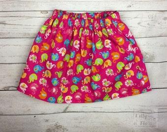 Cute bright elephant print cotton skirt (age 2-3)