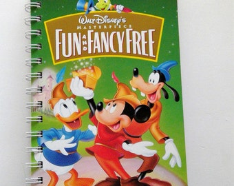 Fun and Fancy Free VHS notebook, movie notepad, mickey mouse, donald duck, goofy, blank notebook, VHS cover, autograph book, disney book