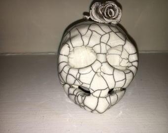 Ceramic Skull With Rose