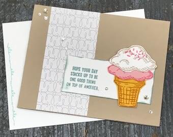 Birthday Ice Cream Stacks UP Handmade Stampin Up Greeting Card with Envelope