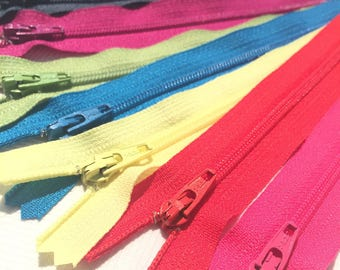 YKK Nylon Zippers 18 Inches Coil #3 Closed Bottom Assorted Colors