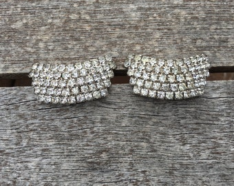 Vintage Clear Crystal Rhinestone Shoe Clips 0729