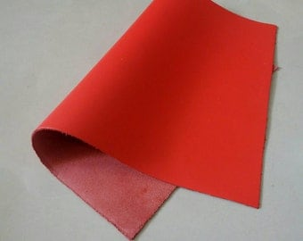 "Leather Scrap, Genuine Leather, Leather Pieces, Red, Size 8.25"" by 11.5""  Leather Scrap for DIY Projects."