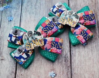 Sing movie hair bows Sing movie party Sing movie birthday gift for girl jewelry Gift for kids Sing bows colorful Sing birthday Bow accessory
