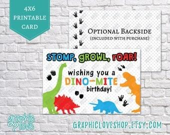Printable Stomp Growl Roar Dinomite Dinosaur 4x6 Birthday Card | Digital JPG File, Instant Download