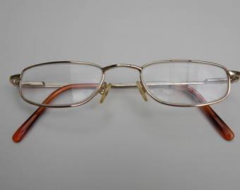 Square lens, small glasses, fielmann glasses, gold frame, small lens, cool glasses, retro glasses, vintage glasses 203