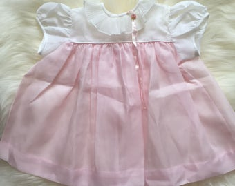 Vintage 60s 1960s baby girl dress light pink and white with accordian collar