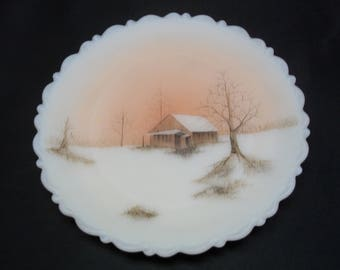"""Fenton Vintage Cameo Glass Plate WIth """"Sunset"""" Theme Signed Hand Painted Scenery"""