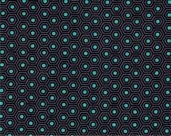 Tula Pink Slow & Steady Tortoise Shell Asphalt Grey Turquoise Hexagon Geometric Cotton Fabric by Free Spirit Fabrics