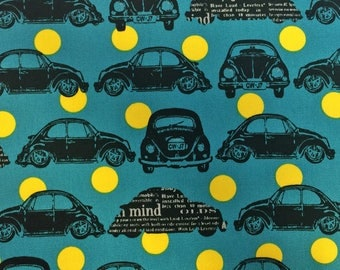 VW Beetle Car Bug Volkswagen Teal Yellow Spot Cosmo Tex Japan Cotton Oxford Canvas Japanese Fabric