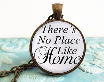 Theres no place like home Dorothy Quote Necklace The Wizard of Oz Quote Necklace Pendant Jewelry Cowardly Lion Toto Tin Man Wicked Witch
