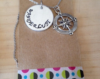 LAST CHANCE CLEARANCE Wanderlust necklace with compass rose charm