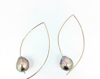 Akoya Silver Pearl Fishhook Earring