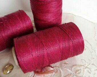 Linen, FUCHSIA waxed linen, thickness  (1mm),  thread / 3 ply