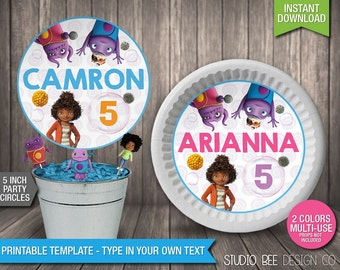 Dreamworks Home Party Circles - INSTANT DOWNLOAD - Printable 5 Inch - Centerpiece - Plate Insert - DIY Personalize & Print (HMlc03)