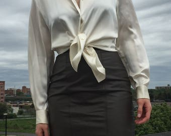 Vintage 80s Pearlescent White Silk Button Up Blouse • Size Medium-Large