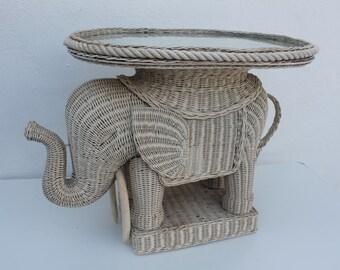 Vintage Italian Woven Rattan Elephant Side Table / Tray .