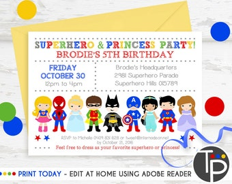 SUPERHERO PRINCESS PARTY Invitation, Instant Download, Superhero Princess Invitation, Superhero Princess Party, Printable invitation