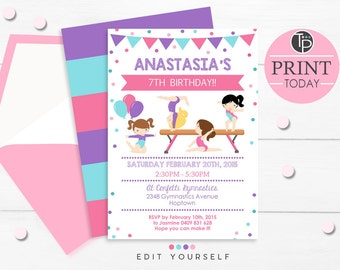 GYMNASTICS Invitation, Instant download GYMNASTICS Invitations, Gymnastics Party Invitation, Gymnastics Party, Print yourself, Edit yourself