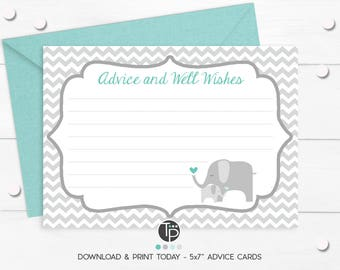 ELEPHANT ADVICE CARD, Instant Download Advice to Mom Card, Elephant Baby Shower, Baby Shower Advice Cards, Elephant Advice Card, Baby Shower