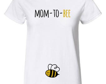 mom-to-BEE cute pregnancy T-shirt, Mother's day, pregnancy announcement, funny,100% cotton, High-Quality, with gold color, gift, baby shower