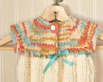 Newborn Baby Cardigan Sweater Hand knit Coral Tiffany Blue Ribbon Washable Baby Girl
