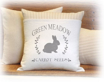 Spring Pillow, Bunny Pillow, Bunny Rabbit, Carrot Seeds, Pillow Cover, Ticking