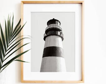 Lighthouse print PRINTABLE art,nautical print,black & white print,lighthouse art,lighthouse decor,contemporary art,photography,instant art