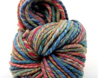 "Handspun Art Yarn, Super Bulky, 95m, 3ply,  Merino wool 18 micron,  "" watercolor """