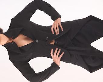 Womens Suit Jacket, Black Blazer Jacket, Long Sleeve Blazer, Cropped Jacket, Gothic Jacket, Womens Outerwear, Steampunk Jacket, Boho Blazer