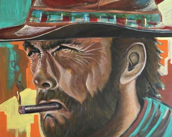A Colourful Portrait of Clint Eastwood on a colourful background
