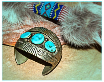 Vintage Silver~Turquoise~NATIVE American~STAMPED~Cuff BRACELET~Genuine Old Indian Pawn